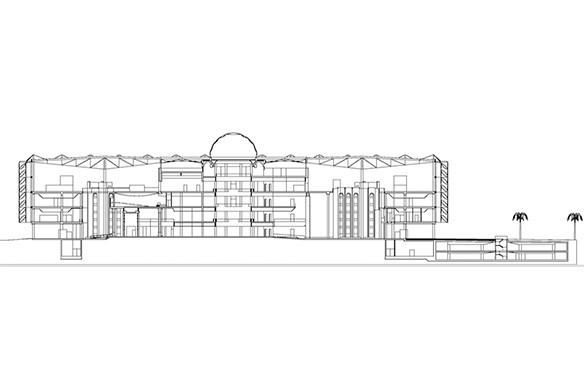 Ausgezeichneter Stahlbau 2016 King Fahad Nationalbibliothek Riad Längsschnitt