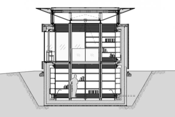 Ausgezeichneter Stahlbau 2016 Privatbibliothek Hamburg gmp Querschnitt