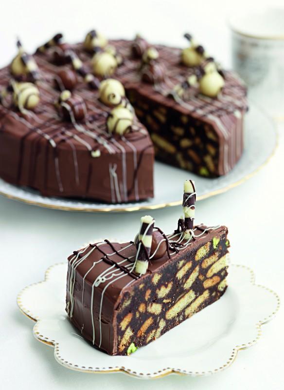 Schokoladen-Keks-Kuchen mit Feigen und Pistazien Rezept