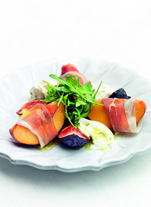 Salat von Pfirsichen im Schinkenmantel im Kochbuch