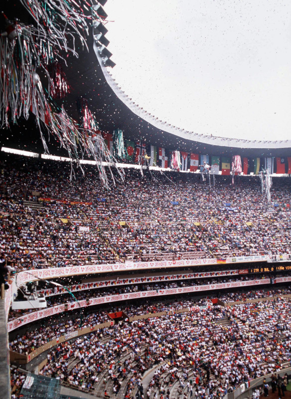 1986 World Cup Finals, Azteca Stadium, Mexico, 31st May, 1986, Opening Ceremony, A general view shows a small section of the vast crowd in the stadium during the ceremony