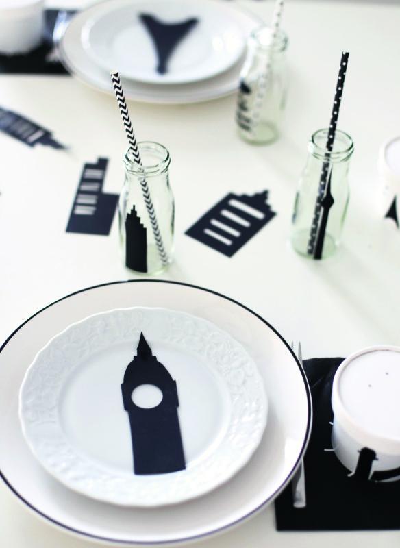 Mottoparty Tischdekoration  Großstadtdschungel Black&White