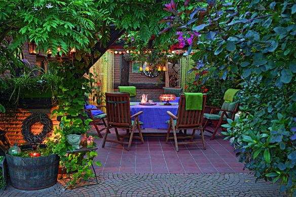 Beleuchtete Terrasse Gartenideen