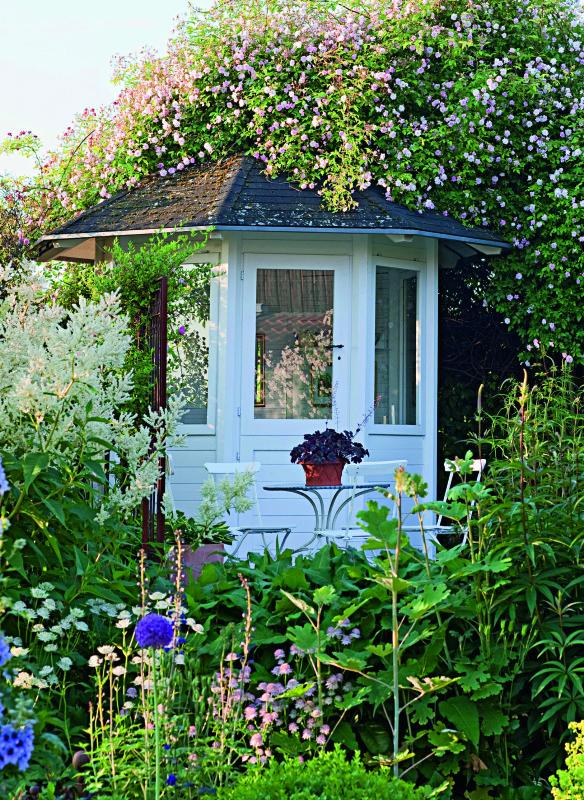 Gartenhaus mit Kletterrose und Aconogonon speciosus 'Johanniswol Gartenideen