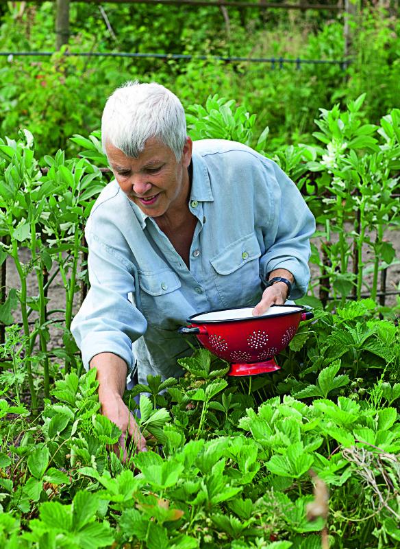 Renate Hücking in ihrem Garten Gatenbeet