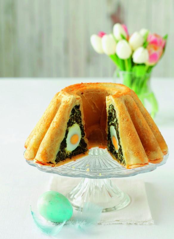 Kuchen mit Spinat-Ei-Füllung