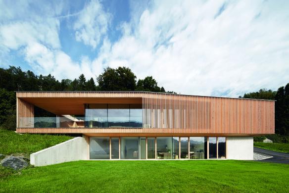 Moderne Architektur zweigeschössig Holz Beton