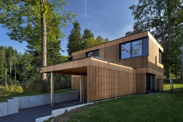 Fassadengestaltung Holzverkleidung Flachdach Jost Architekten