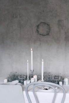 Winter Gedeck mit Kerzen