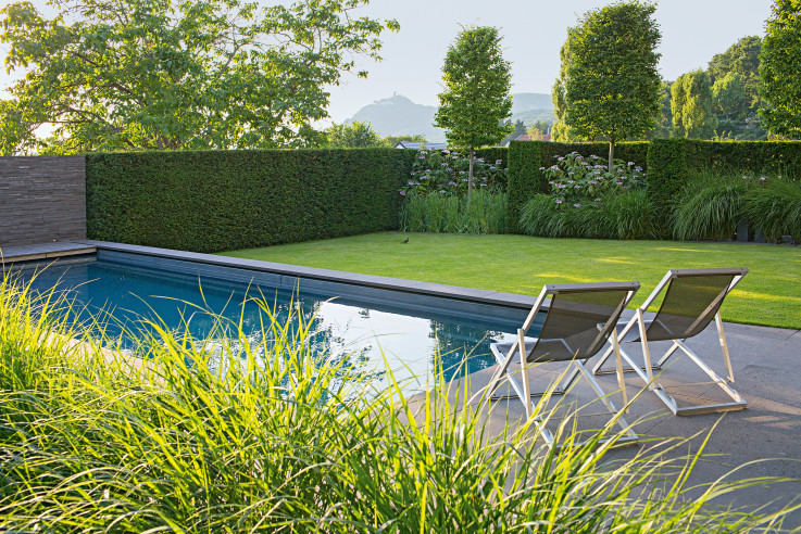 Liegestühle am Pool (Blick in die Landschaft)