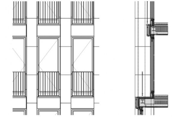 Ausgezeichneter Stahlbau 2016 Gerling-Hochhaus Köln Fassadenschnitt und Detailansicht