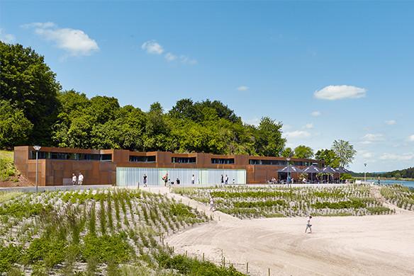 Ausgezeichneter Stahlbau 2016 Strandbad Twistesee Gesamtansicht