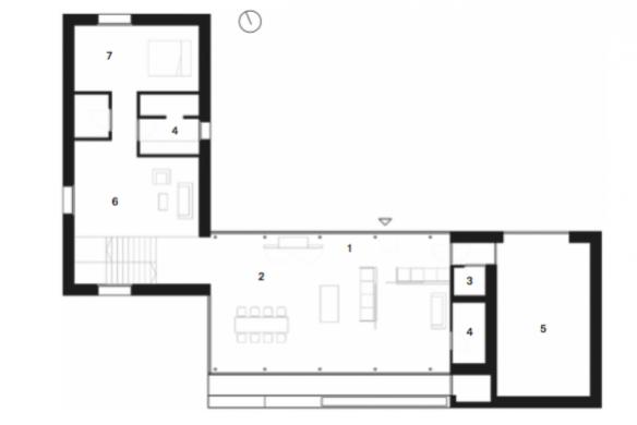 Grundriss Erdgeschoss Einfamilienhaus Atelier Ulrike Tinnacher