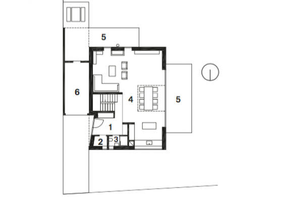 Grundriss EG Einfamilienhaus Falke Architekten