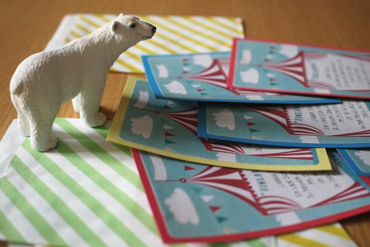 Kindergeburtstag Motto Zirkus Einladungskarten selber basteln