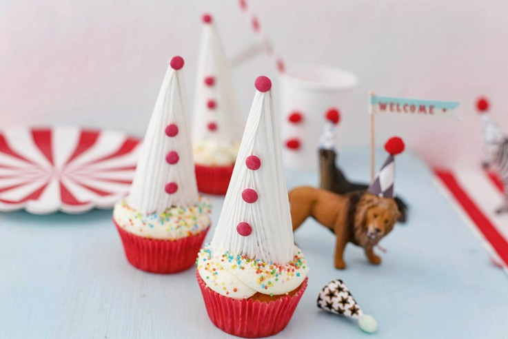 Rezept Fasching Mottoparty Clown-Cupcakes Fräulein Klein feiert mit Kindern