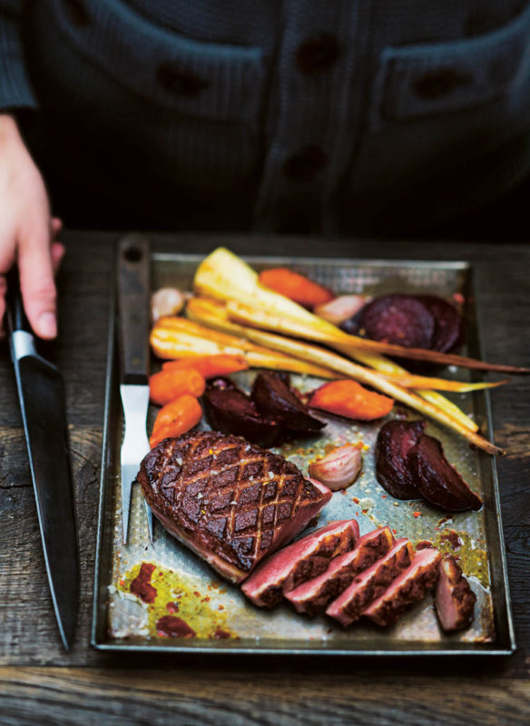 Messer Entenbrust mit herbstlichem Gemüse