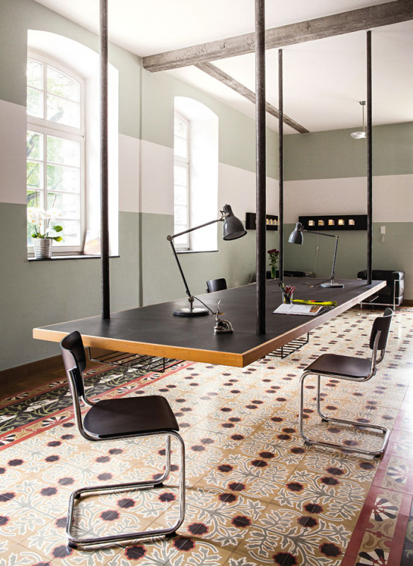 Ornament und Farbe Zementmosaik VIA Platten Jugendstil-Ornament modernes Büro