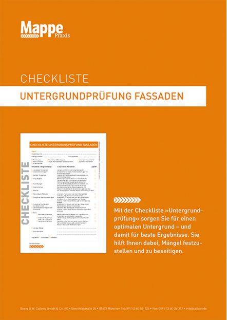 Checkliste Untergrundprüfung Fassaden | MAPPE Praxis