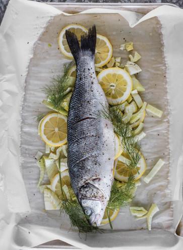 Blechkochbuch Fisch mit Fenchel roh