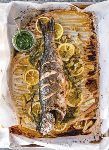 Blechkochbuch_Fisch mit Fnechel gar