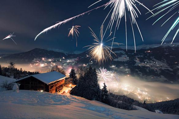 Weihnachten in den Bergen Wohnbuch Silvester Feuerwerk Schnee