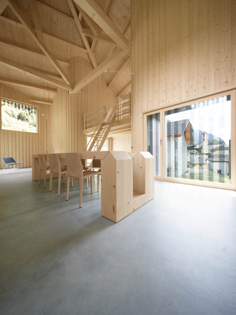 Interior of modern wooden house