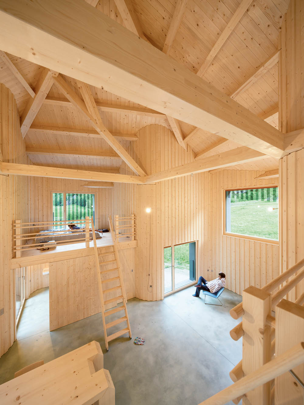 Interior of modern swiss wooden house