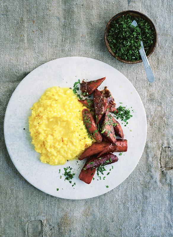Bonisolli vegetarisch_8_geschmorte Karotten mit Safranrisotto